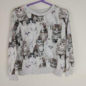 H&M kids Cat sweater pullover long sleeve crew nec